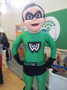 One of the mascot's of the events, The Waste Warrior, is ready to help!